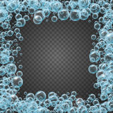 Shampoo frame of realistic water bubbles Stock Image