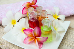 Shampoo and gel bath. Shampoo and gel bottles with towels and flower. on white background Stock Image