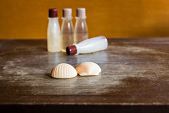 Shampoo, hair conditioner and soap Royalty Free Stock Images