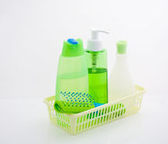 Shampoo and a hairbrush. Shampoo, shower gel, lotion and comb Royalty Free Stock Image
