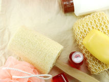 Shampoo and liquid shower gel with bath puff and loofah spa kit top view Stock Image