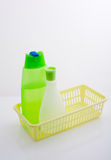 Shampoo and lotion. In a plastic basket Stock Images