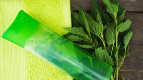 Shampoo with nettle. stock photography