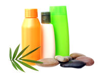 Shampoo and pebbles Royalty Free Stock Images