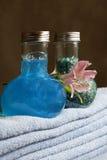 Shampoo and salt for baths Royalty Free Stock Photo