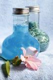 Shampoo and salt for baths Royalty Free Stock Photography