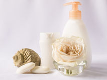 Shampoo, shower gel, towels Royalty Free Stock Photo