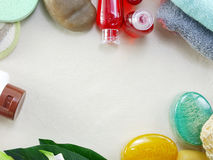 Shampoo soap bar and liquid shower gel towels spa kit top view with space background Royalty Free Stock Image