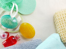 Shampoo soap bar and liquid shower gel towels spa kit top view with space copy background Stock Images