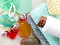 Shampoo soap bar and liquid shower gel towels spa kit top view with space copy background Stock Photography