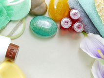 Shampoo soap bar and liquid shower gel towels spa kit top view with space copy background Stock Photos