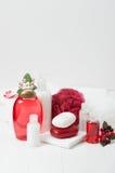 Shampoo, Soap Bar And Liquid. Toiletries, Spa Kit. Shampoo, Soap Bar And Liquid. Toiletries Spa Kit Towels Stock Photo