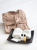 Shampoo Soap Hand towel set with Bath rope Royalty Free Stock Photography