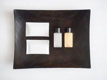 Shampoo Soap Toiletry on Wood Tray Top view. Spa Health and Beauty Royalty Free Stock Photography