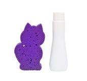 Shampoo and sponge Stock Image