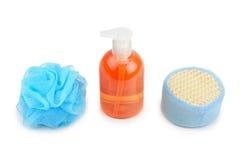 Shampoo and sponge Stock Images