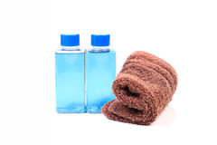 Shampoo and towel Royalty Free Stock Photo