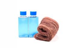 Shampoo and towel Royalty Free Stock Photo