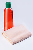 Shampoo, towel Royalty Free Stock Photo