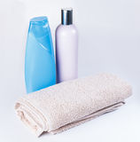 Shampoo, towel Royalty Free Stock Photos