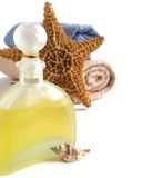 Shampoo, towels and decoration for the bathroom Stock Images
