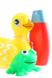 Shampoo and toys Royalty Free Stock Photos