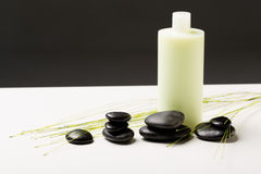 Shampoofles, massagestenen en groene installatie Stock Fotografie