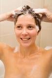 Shampooing hair Stock Photo