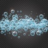 Shampookader van realistische waterbellen Stock Afbeelding