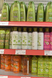 Shampoos and hair conditioners in the supermarket Stock Image
