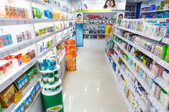 Shampoos and personal care products in store Stock Image