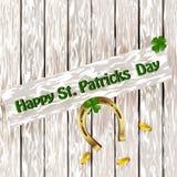 Shamrock дня St Patricks с подковой на деревянной поверхности Vector иллюстрация предпосылки дня ` s St. Patrick Стоковые Фотографии RF