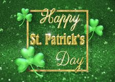 Shamrock золота иллюстрации дня 3D ` s St. Patrick Стоковое фото RF