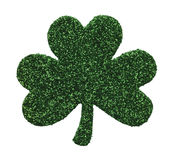 Shamrock. Dark Green Three Leaf Gliter Clover Isolated on White Background royalty free stock photos