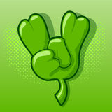 Shamrock On. Four leaf clover making the classic rock on hand gesture Stock Images