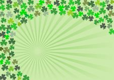 Shamrock - 4. Shamrock clovers in many sizes and hues in a spiral arrangement. A St. Patrick's Day stationery design, with copy-space and dimensions ready for a stock illustration