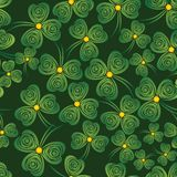 Shamrock background. Seamless shamrock. Background clover vector. Green wallpaper. St. Patricks Day. Irish illustration Stock Photos