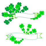 Shamrock banner. St. Patrick's Day Clover with Banner for Text Stock Images