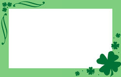 SHAMROCK BORDER. Clover leaf and green border for St.Patrick`s day Royalty Free Stock Photos