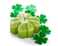 Shamrock candle Stock Images