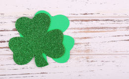 Shamrock. Clover leaves on wood background. St. Patrick's Day Royalty Free Stock Images