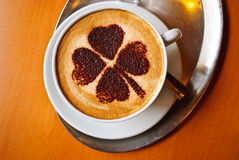 Shamrock Coffee Art Stock Photos