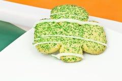 Shamrock cookie backed by colors of Irish flag Stock Image