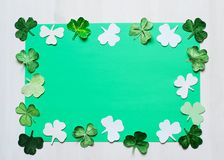 Shamrock cut paper frame for Patrick day Royalty Free Stock Photos