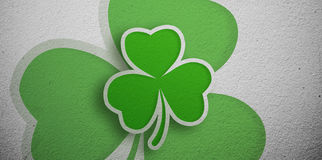 Shamrock design on grey wall Royalty Free Stock Photography