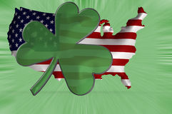 A shamrock displayed against an Anerican flag Stock Photo