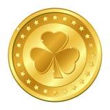shamrock Drei-Blattklee-Goldmünze mit Sternen St- Patrick` s Tag irisch glücklich Auch im corel abgehobenen Betrag Stockfotografie