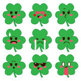 Shamrock Emoji Expressions. Cute set collection of cute shamrock emoji with different face expressions Royalty Free Stock Image