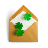 Shamrock in envelope Stock Photos