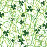Shamrock flower background. Seamless flower shamrock leaves. Background clover vector. Green wallpaper. St. Patricks Day. Irish illustration Stock Photography